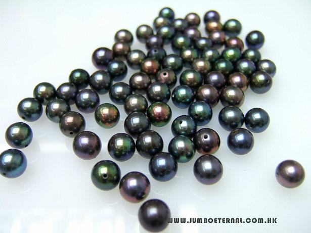 Black Loose Round Pearls