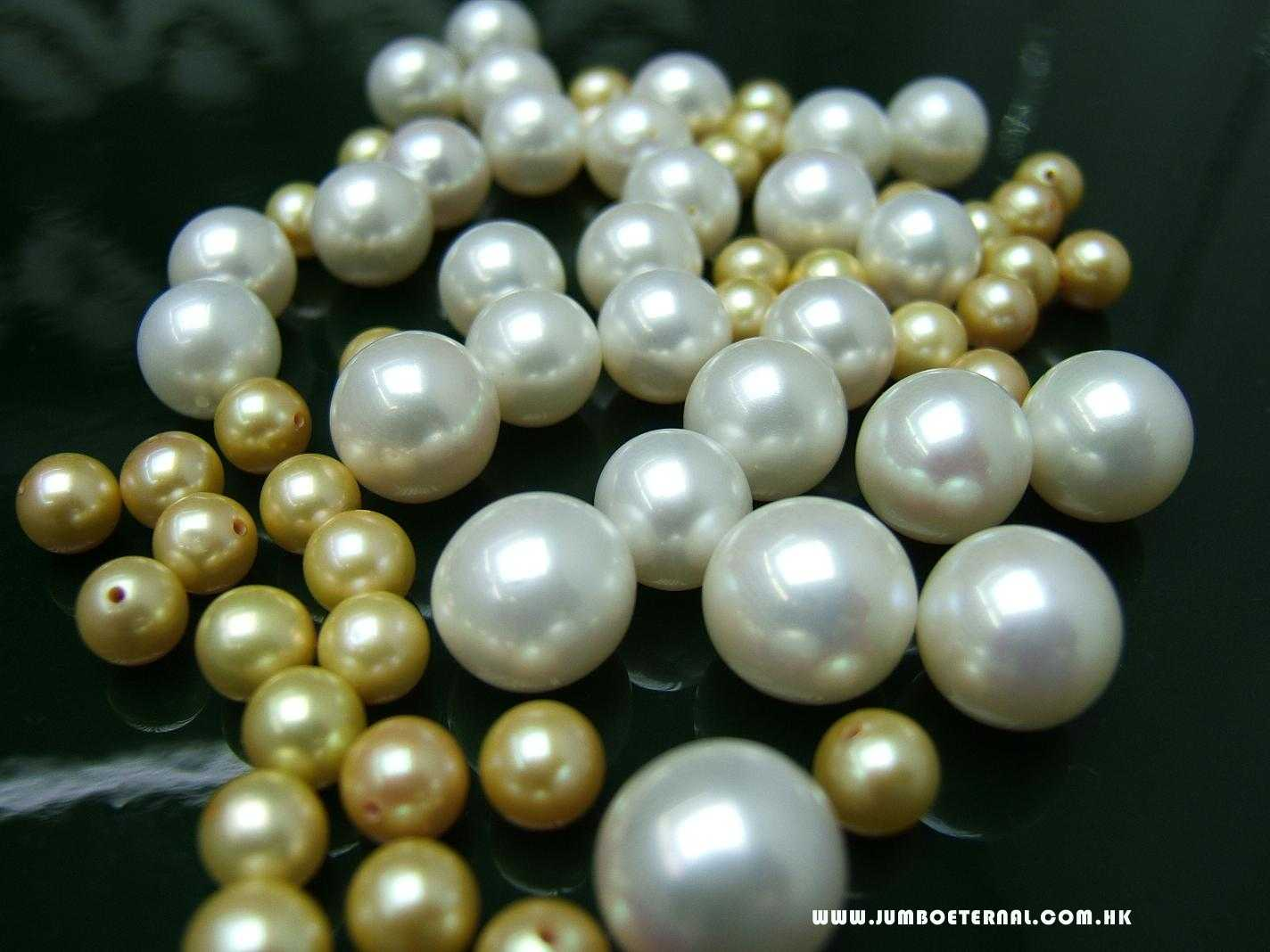 Golden&White Loose Pearls